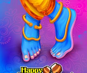 Happy janmashtami festival design vector 09