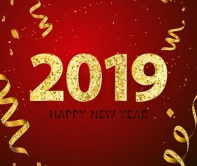 Happy new year 2019 with golden ribbon vectors