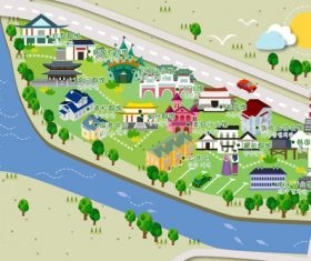 Hot spring map vector style illustration