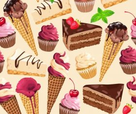 Ice cream and cake seamless pattern vector 02