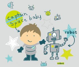 Illustration cartoon boy robot space starry sky vector