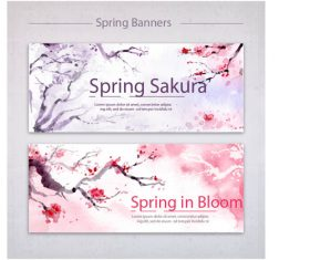 Ink cherry blossom material vector
