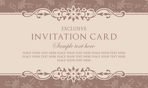 Invitation Card Template Design Vintage Style Vector 04 Free