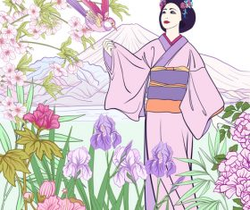 Japan styles hand drawing background vector 04