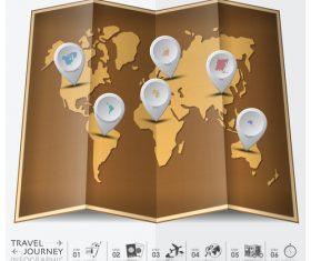 Journey World Map Travel vector 01