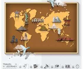Journey World Map Travel vector 02