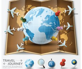 Journey World Map Travel vector 04