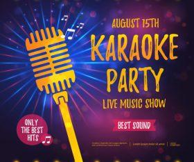 Karaoke party poster template vectors 01