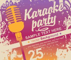 Karaoke party poster template vectors 03