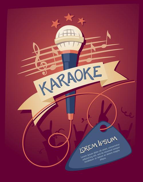 Karaoke party poster template vectors 06