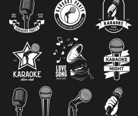 Karaoke party with club labels design vector