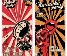 Karaoke vintage poster template vector material 01