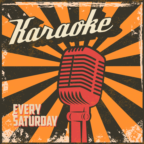 Karaoke vintage poster template vector material 02