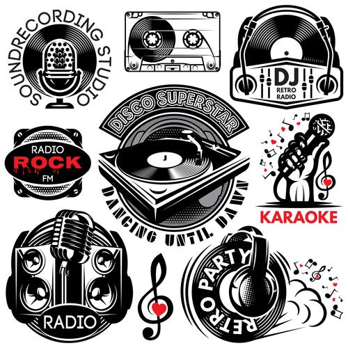 Karaoke with radio labels design vector
