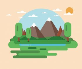 Landscape scenery illustration vector