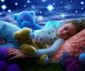 Little girl dreams of seeing the stars Stock Photo