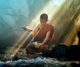 Little monk Stock Photo