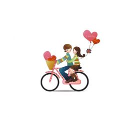 Love cartoon bike lovers vector pattern