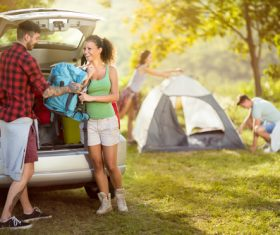 Lovers ready to camp Stock Photo