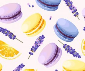 Macaron with purple flower seamless pattern vector