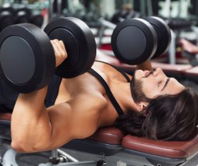 Man doing body building in the gym Stock Photo 01
