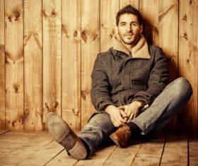 Man sitting on the floor Stock Photo