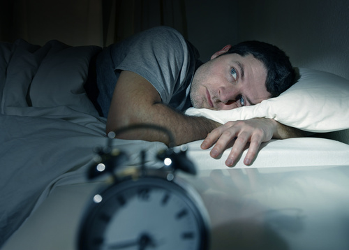Man who is insomnia at night Stock Photo 01