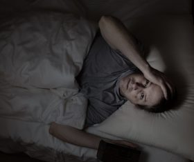 Man who is insomnia at night Stock Photo 02