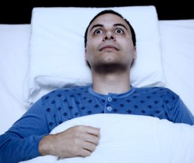 Man who is insomnia at night Stock Photo 03