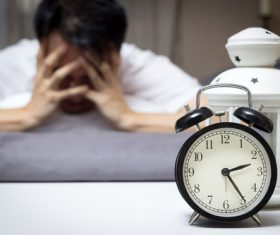 Man who is insomnia at night Stock Photo 04