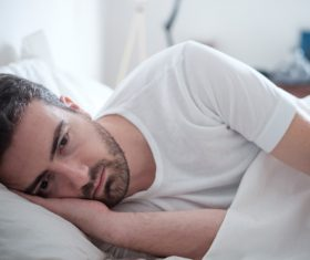 Man who is insomnia at night Stock Photo 05