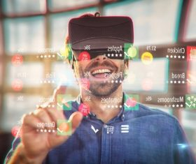 Man with glasses of virtual reality Stock Photo 01
