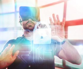 Man with glasses of virtual reality Stock Photo 02