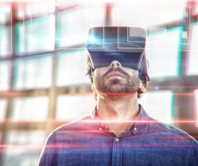 Man with glasses of virtual reality Stock Photo 03