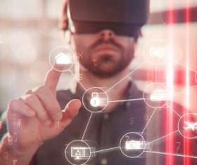 Man with glasses of virtual reality Stock Photo 04