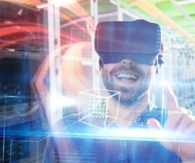 Man with glasses of virtual reality Stock Photo 05