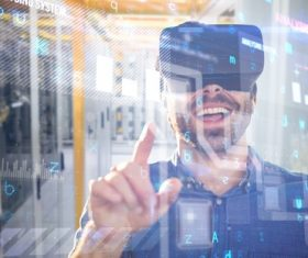 Man with glasses of virtual reality Stock Photo 06