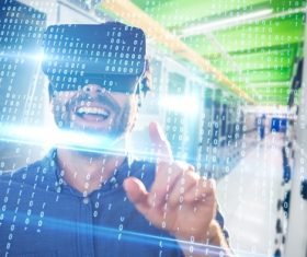 Man with glasses of virtual reality Stock Photo 07