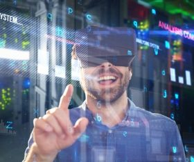 Man with glasses of virtual reality Stock Photo 08