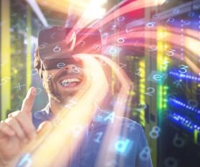 Man with glasses of virtual reality Stock Photo 09