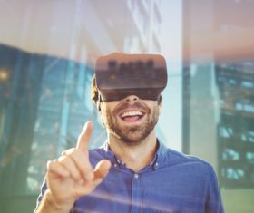 Man with glasses of virtual reality Stock Photo 11
