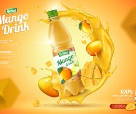 Mango drink poster design vector