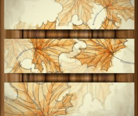 Maple leaf autumn banners hand drawn vector