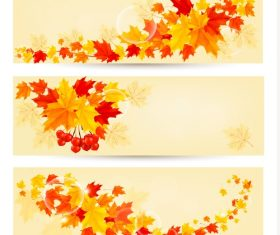 Maple leaves with autumn banners vector 02