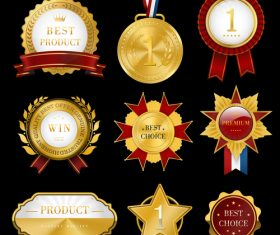 Medals and badges creative design vector