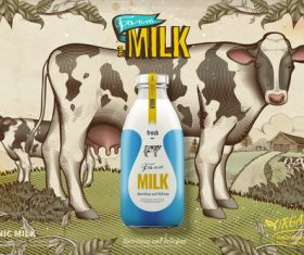 Milk and cows vector hand drawn
