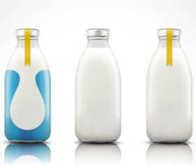 Milk with package bottle vector