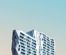 Modern prismatic high-rise building Stock Photo