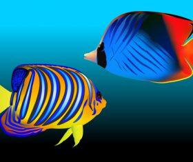 Multicolored skin fish sea animal vector 22