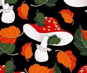 Mushroom with autumn leaves pattern seamless vectors 01